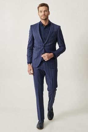 ALTINYILDIZ CLASSICS ERKEK Lacivert Ekstra Slim Fit Yelekli Yünlü Spor Nano Takım Elbise