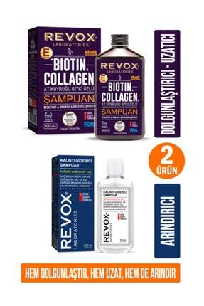 Revox Saç Bakım Seti- Biotin & Collagen & At Kuyruğu Bitki Özlü Şampuan + Kalıntı Giderici Şampuan