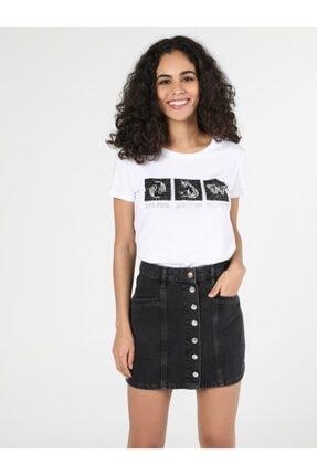 Colin's Kadın Beyaz Baskılı Kısa Kol T-Shirt