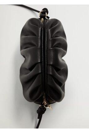 MANGO Woman Kadın Siyah Pilili Mini Çanta