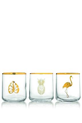 Rakle Altın Yaldızlı 3'lü Tropic Meşrubat Bardağı