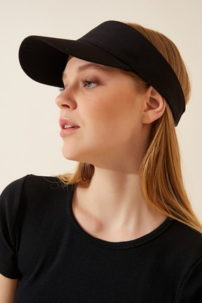 Happiness İst. Kadın Siyah Ayarlanabilir  Bantlı Tenis Şapkası PD00027
