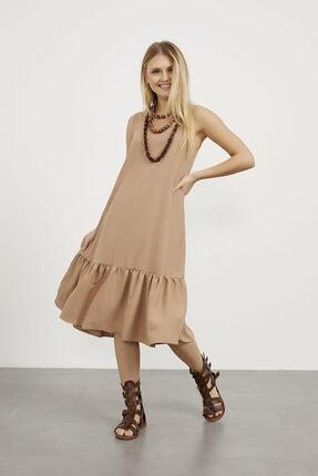 Arma Life Kadın Camel Aurobin Kolsuz Eteği Volanlı Elbise