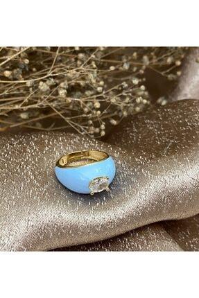 Markiz Takı Kadın Açık Mavi Taşlı Bombe Yüzük