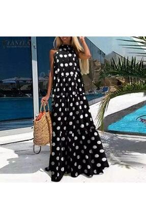 JANES Kadın  Krep Kumaş Puantiyeli Elbise . 135cm