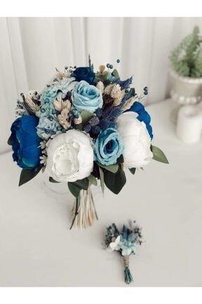 Almila Store Yeni Sezon Mavinin Rüyası Gelin Buketi Ve Damat Yaka Çiçeği Kuru Ot Ve Yapay Çiçekli