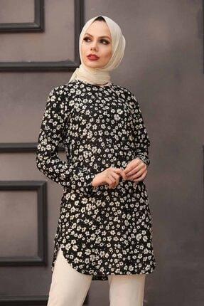 Neva Style - Desenli Siyah Tesettür Tunik 35813s