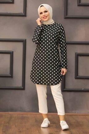 Neva Style - Puantiye Desenli Siyah Tesettür Tunik 35815s