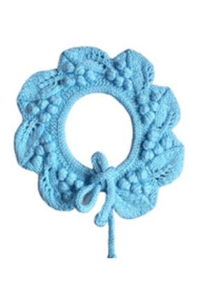 Pelin Butik Çocuk  El Işi Örgü Üzümlü  Yaka Knit Collar 1-4 Yaş Mavi