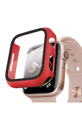 Apple Kırmızı Microsonic Watch Series 6 44mm Kılıf Matte Premium Slim Watchband