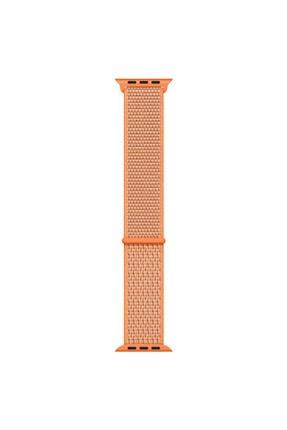 Apple Microsonic Watch Series 3 38mm Uyumlu Hasırlı Kordon Woven Sport Loop Spicy Orange