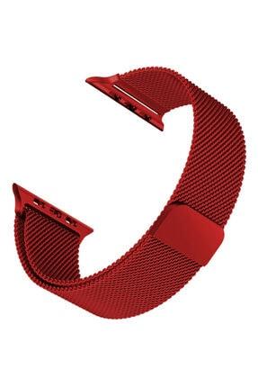 Apple Microsonic Watch Series 6 44mm Milanese Loop Koyu Kırmızı Kordon