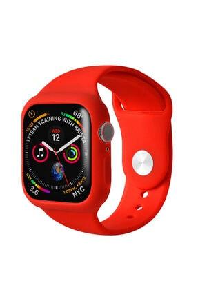 Apple Microsonic Watch Series 6 44mm Kordon 360 Coverage Silicone Kırmızı Uyumlu