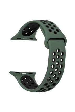 Apple Microsonic Watch Series 6 44mm Rainbow Sport Band Kordon Yeşil Siyah Uyumlu