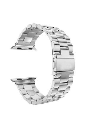 Apple Microsonic Watch Series 5 44mm Uyumlu Metal Stainless Steel Kordon Gümüş
