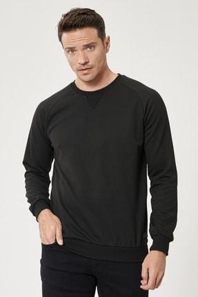AC&Co / Altınyıldız Classics Erkek Siyah Standart Fit Günlük Rahat Bisiklet Yaka Spor Sweatshirt