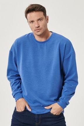 AC&Co / Altınyıldız Classics Erkek Saks Mavi Günlük Rahat Sıfır Yaka Oversize Spor Sweatshirt