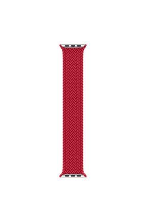 Apple Microsonic Watch Series 6 40mm Kordon, (small Size, 127mm) Braided Solo Loop Band Kırmızı