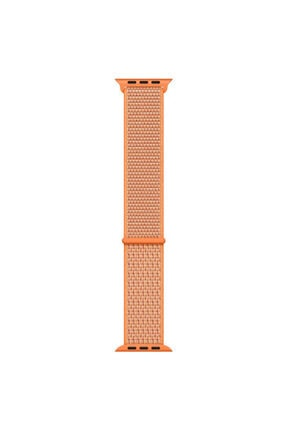 Apple Microsonic Watch Series 1 42mm Hasırlı Kordon Woven Sport Loop Spicy Orange