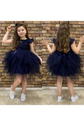 Pumpido Kız Çocuk Lacivert Simli Elbise
