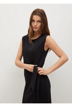 MANGO Woman Kadın Siyah Düğümlü Pamuklu Elbise