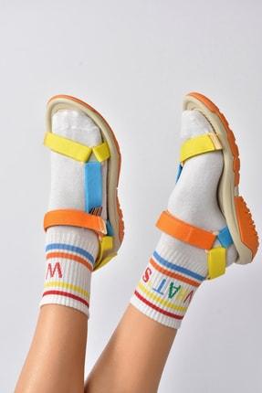 Fox Shoes Kadın Turuncu Kumaş Cırtlı Trekking Sandalet K838862504