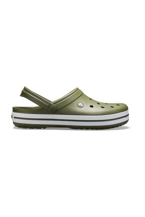 Crocs Yeşil Unisex Crocband Kenarı Beyaz Çizgili Terlik