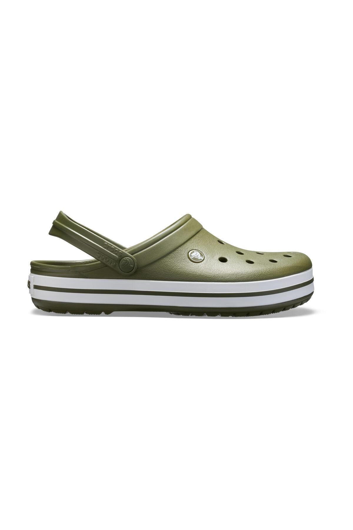 Crocs Yeşil Unisex Crocband Kenarı Beyaz Çizgili Terlik 1