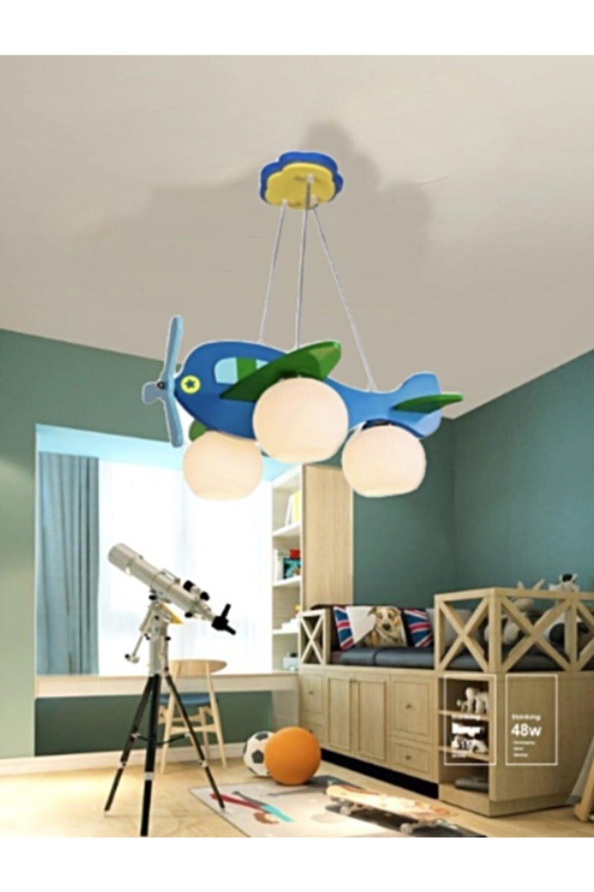 ışıksan aydınlatma Çocuk Odası Avize Helikopter Sarkıt Üçlü Mavi Yeşil 1