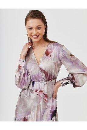 Kayra Eteği Fırfırlı Kruvaze Yaka Elbise Lila B21 23187