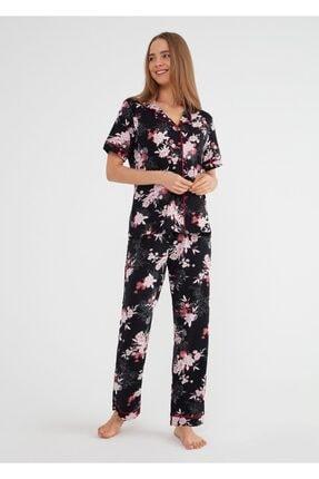 SUWEN Kadın Siyah Baskılı Felicity Maskülen Pijama Takımı
