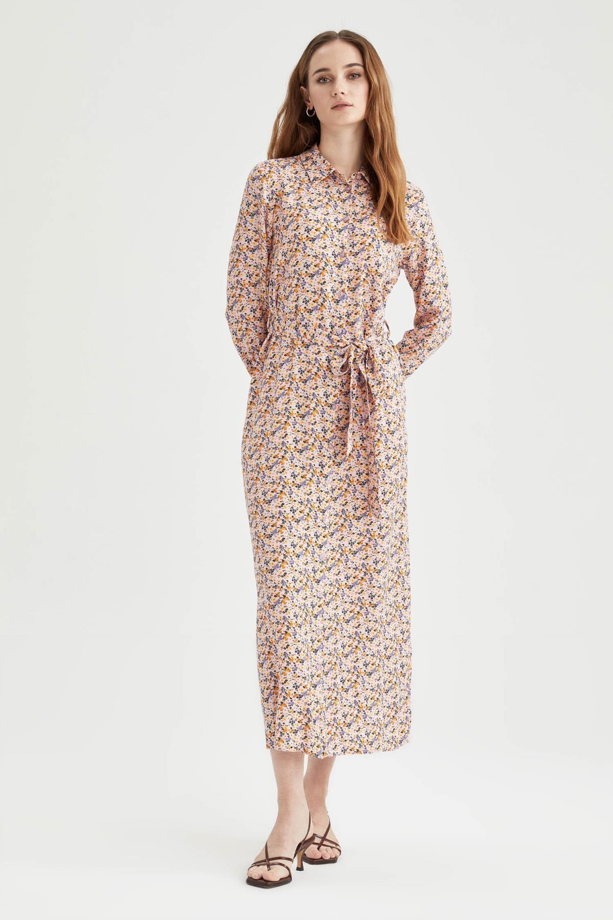 DeFacto Modest Çiçek Desenli Gömlek Yaka Elbise
