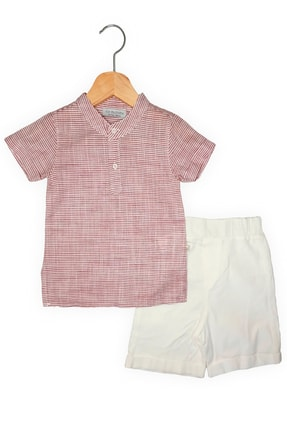 For My Baby Erkek Bebek Kırmızı Çizgili Hakim Yaka Gömlek ve Kanvas Şort Takım