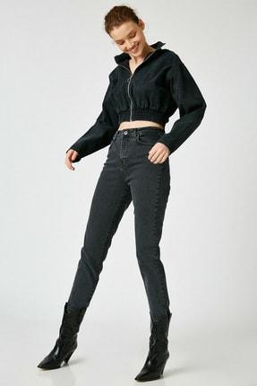 Koton Kadın Siyah Pamuklu Yüksek Bel Mom Jeans