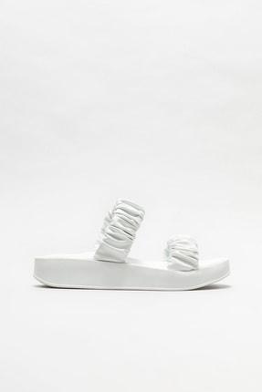 Elle Shoes Kadın Beyaz Dolgu Topuk Terlik