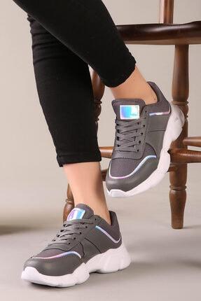 Özay ayakkabı Kadın Füme Hologram Detaylı Ortapedik Taban Ayakkabı