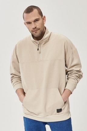 AC&Co / Altınyıldız Classics Erkek Bej Oversize Günlük Rahat Yarım Balıkçı Yaka Spor Sweatshirt