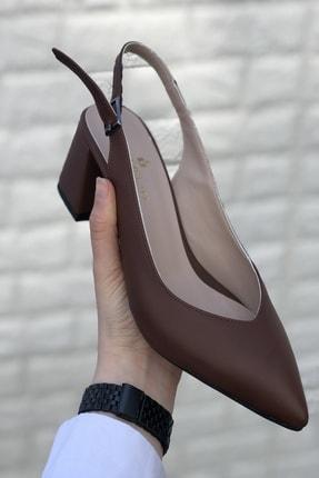 İnan Ayakkabı Kadın Taba Sivri Burun Arkası Açık Topuklu Ayakkabı