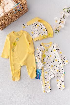 Babymod Bebek Sarı Ay Desenli İkili Uzun Kollu Tulum Takım