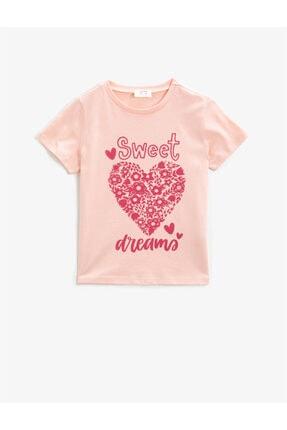 Koton Kids Kız Çocuk Pembe Kısa Kollu Bisiklet Yaka T-Shirt