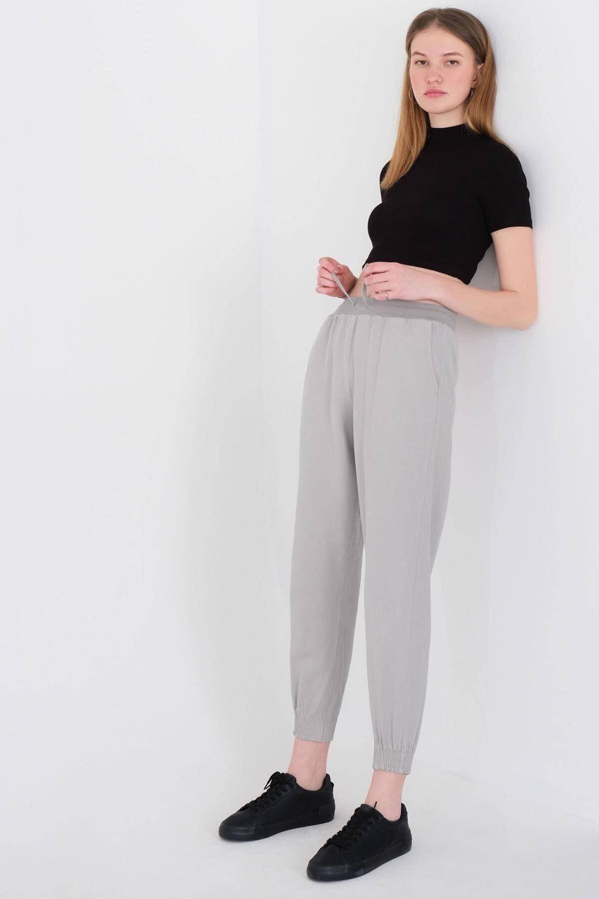 Addax Kadın Gri Paçası Lastikli Pantolon Pn01-072 - W3 Adx-0000023811