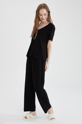DeFacto Kadın Siyah Basic Kısa Kollu Relax Fit Pijama Takımı