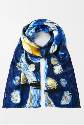 Galiga Kadın Mavi Starry Nıght İpek Şal 65x185 cm