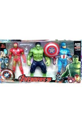 AVENGERS Kahramanlar Hulk Captan Amerika Ironman 3 Lü Karakter Figür Oyuncak Seti Işıklı