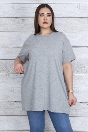 Şans Kadın Gri Geniş Kesim Pamuklu Kumaş Oversize Bluz 65N23863