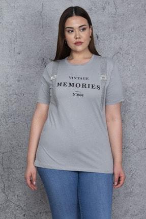 Şans Kadın Gri Taş Ve Baskı Detaylı Bluz 65N24019