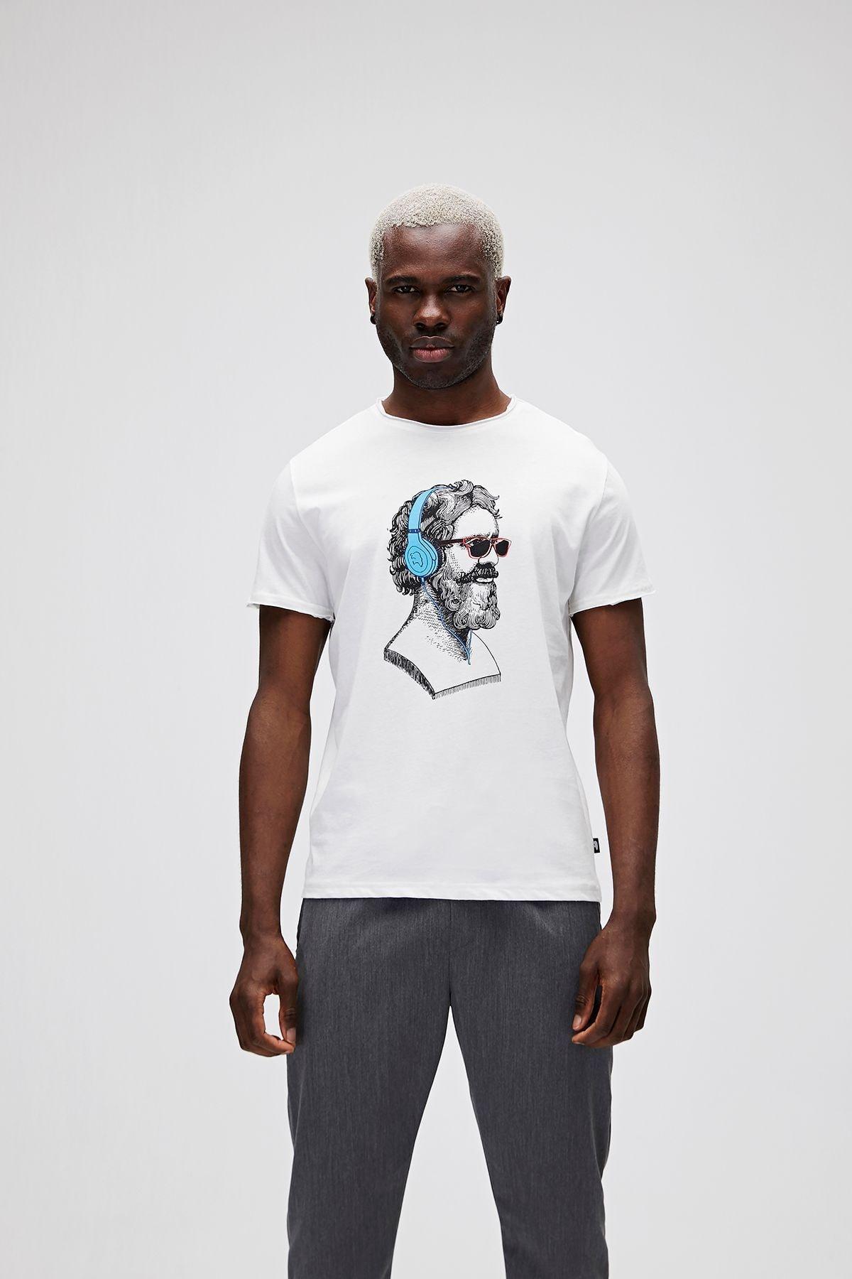 Bad Bear Erkek Beyaz Baskılı T-Shirt 1
