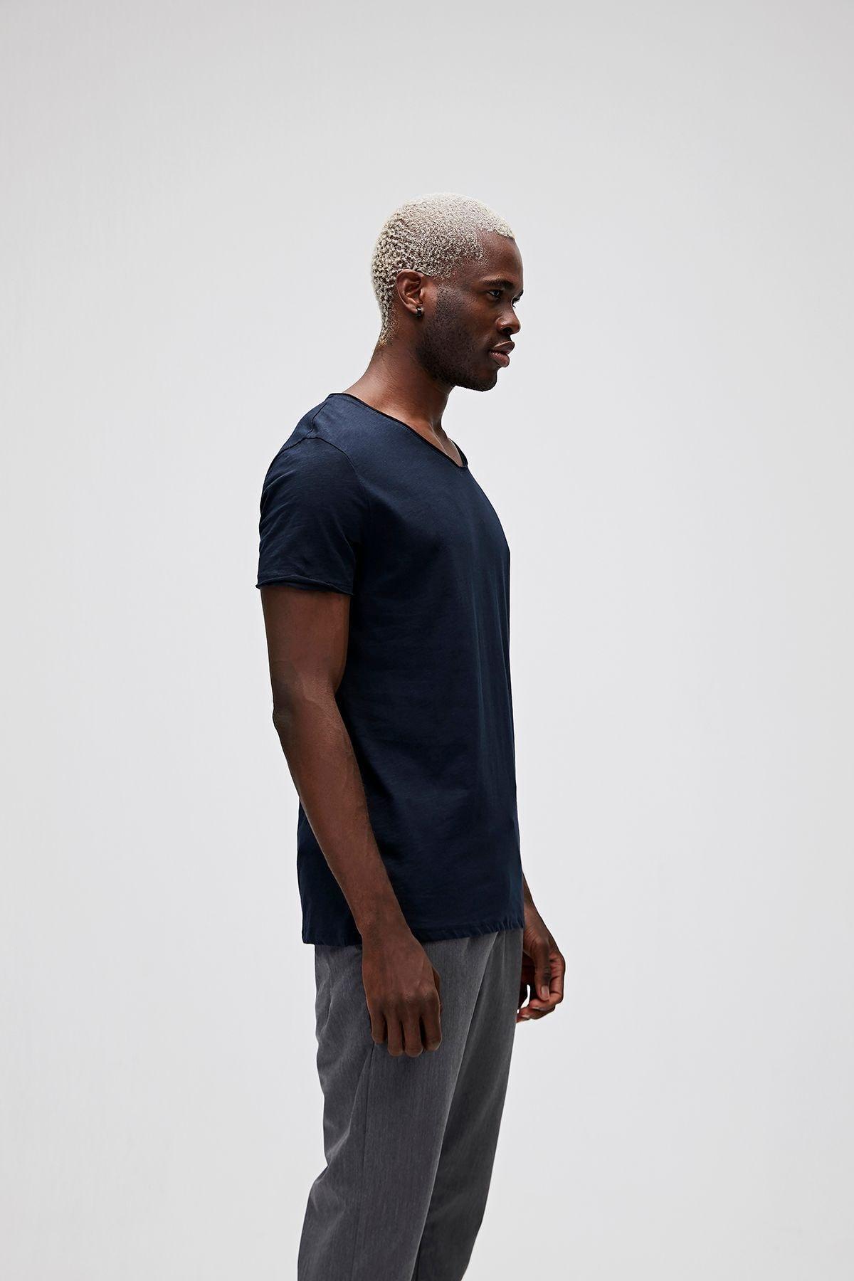 Bad Bear Erkek Lacivert V-neck Tee Navy T-Shirt 2