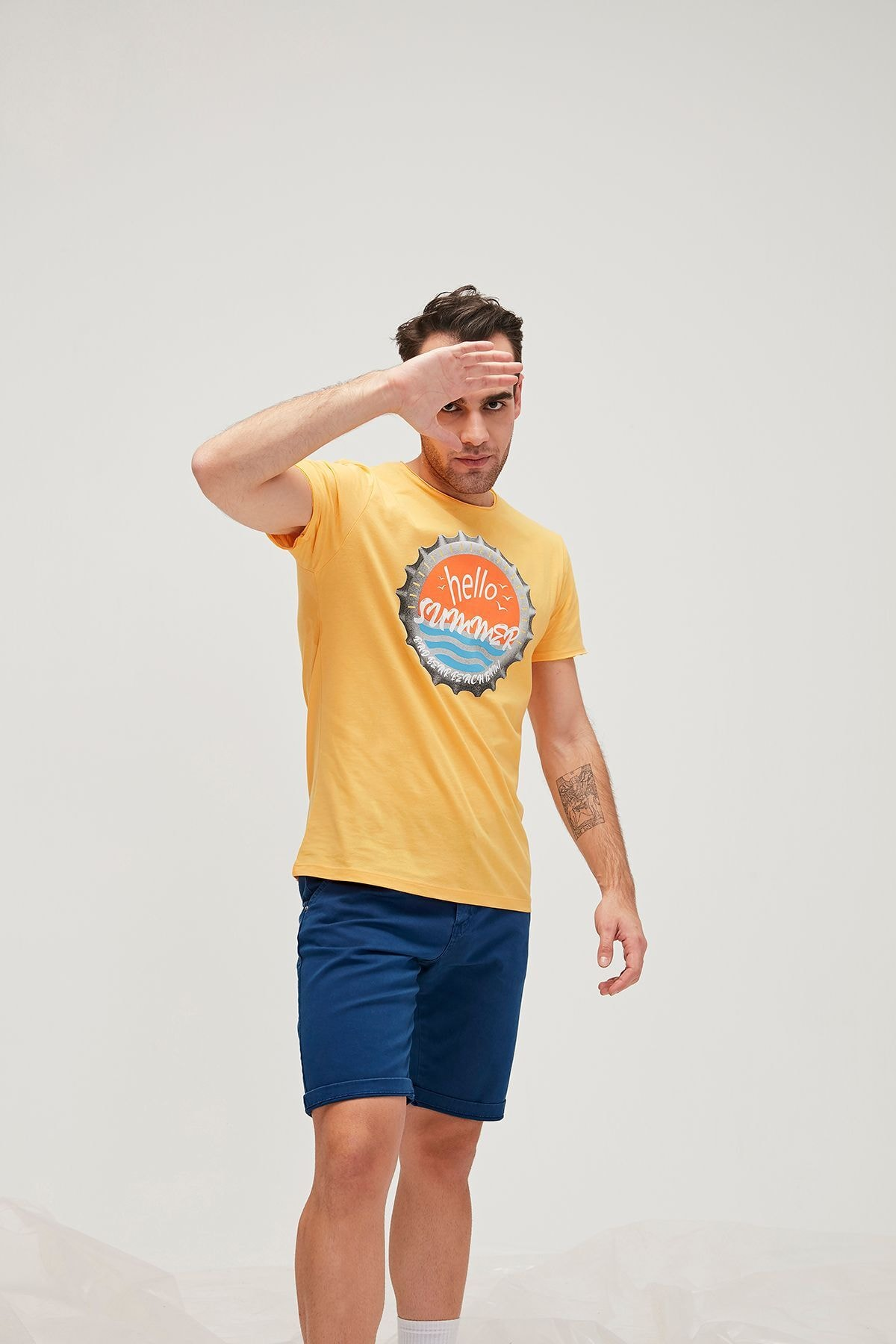Bad Bear Erkek Tişört HELLO SUMMER TEE MUSTARD 1