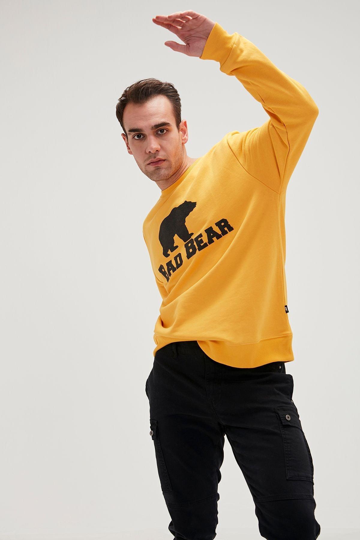 Bad Bear Crewneck Erkek Sweatshirt 20.02.12.011mustard 1